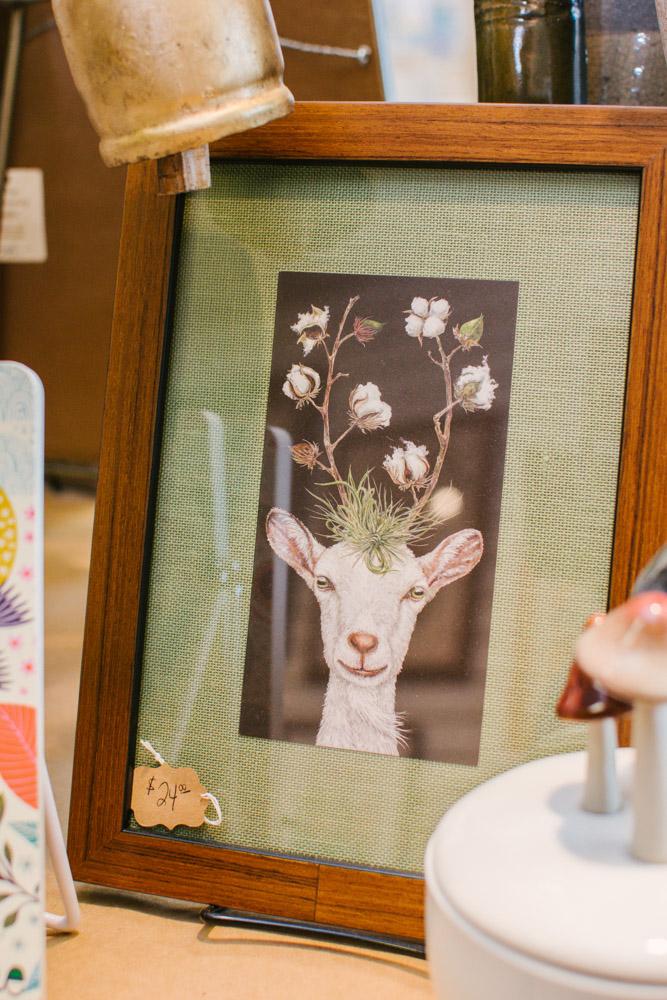 framed goat artwork